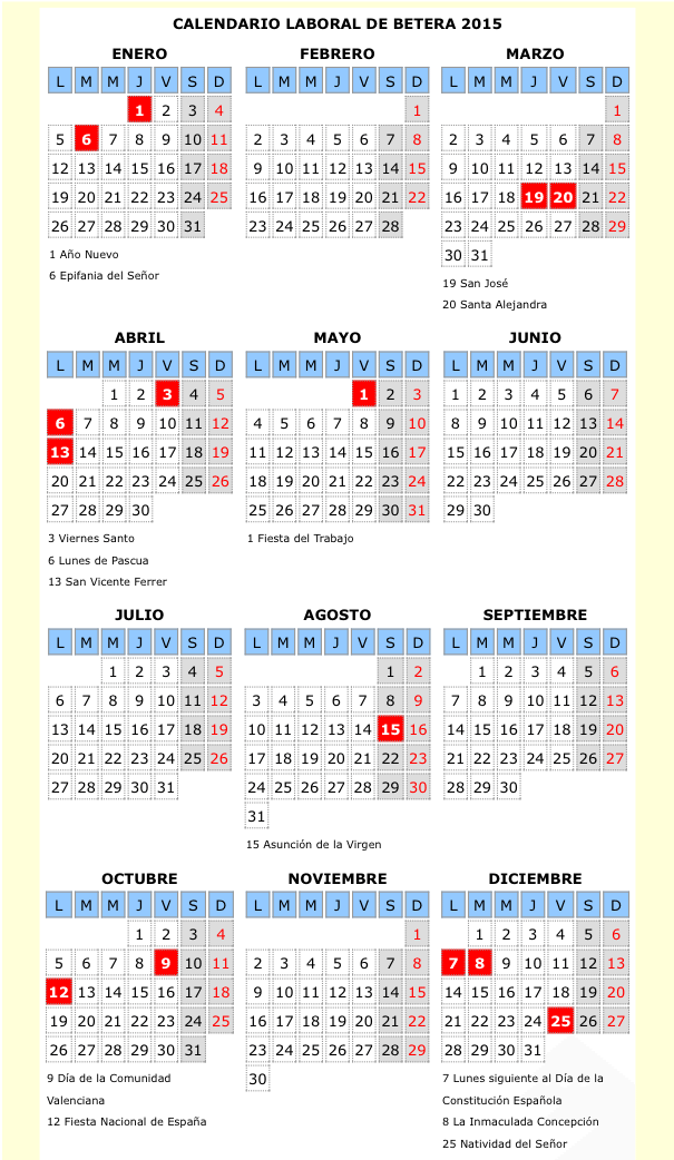 Calendario Laboral De Valencia.El Calendario Laboral De Betera Senala Hasta 7 Puentes Durante 2015