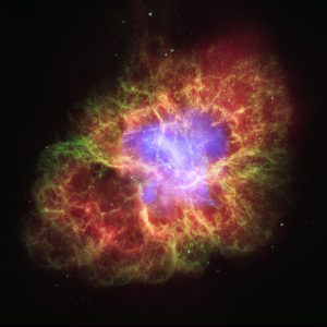 The supernova that produced the Crab Nebula was detected by naked-eye observers around the world in 1054 A.D. This composite image uses data from NASA's Great Observatories, Chandra, Hubble, and Spitzer, to show that a superdense neutron star is energizing the expanding Nebula by spewing out magnetic fields and a blizzard of extremely high-energy particles. The Chandra X-ray image is shown in light blue, the Hubble Space Telescope optical images are in green and dark blue, and the Spitzer Space Telescope's infrared image is in red. The size of the X-ray image is smaller than the others because ultrahigh-energy X-ray emitting electrons radiate away their energy more quickly than the lower-energy electrons emitting optical and infrared light. The neutron star is the bright white dot in the center of the image.